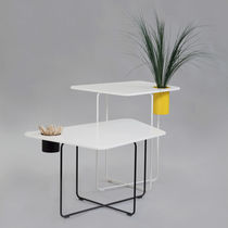 Contemporary table / Corian® / steel / for public buildings