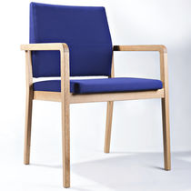 Contemporary visitor chair / connectable / stackable / upholstered