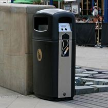 Public trash can / stainless steel / recycled plastic / with built-in ashtray