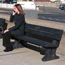 Public bench / rustic / recycled plastic / composite