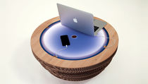 Original design coffee table / wooden / cardboard / round