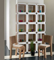 Modular shelf / original design / wooden / cardboard