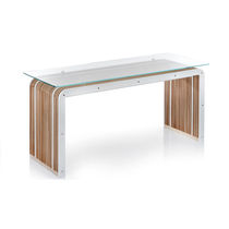 Original design table / glass / cardboard / steel