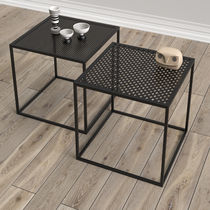 Contemporary coffee table / powder-coated steel / square / black