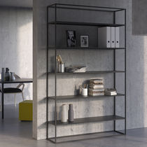 Contemporary shelf / oak / powder-coated steel