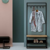 Contemporary clothes rack / metal / wooden