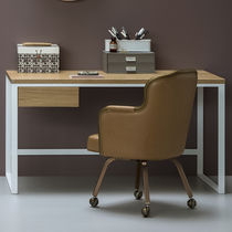 Oak desk / metal / Scandinavian design / with shelf