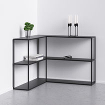 Minimalist design sideboard table / powder-coated steel / rectangular / black