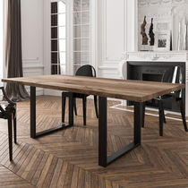 Contemporary table / oak / powder-coated steel / rectangular