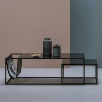 Contemporary coffee table / glass / steel / rectangular