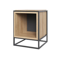Contemporary bedside table / oak / steel / rectangular
