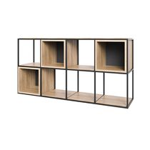 Low shelf / contemporary / oak / steel
