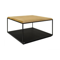 Contemporary coffee table / oak / steel / square