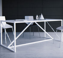 Contemporary dining table / powder-coated steel / rectangular / white