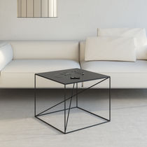 Minimalist design coffee table / powder-coated steel / rectangular / white