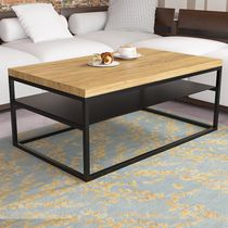 Contemporary coffee table / oak / lacquered MDF / steel
