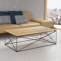 Scandinavian style coffee table / oak / lacquered MDF / metal