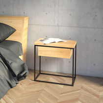 Scandinavian style bedside table / oak / lacquered MDF / metal