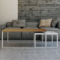 Scandinavian design coffee table / oak / MDF / stainless steel