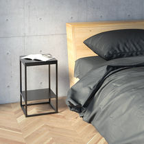 Contemporary bedside table / oak / lacquered MDF / metal