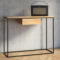 Minimalist design sideboard table / oak / powder-coated steel / rectangular