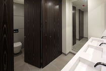 Public sanitary facility toilet cubicle / laminate / HPL / wooden