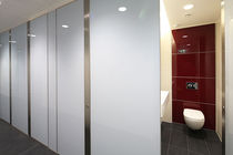 Public sanitary facility toilet cubicle / glass / MDF / laminate
