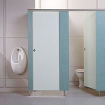 Public sanitary facility toilet cubicle / stainless steel / MDF