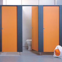 Public sanitary facility toilet cubicle / stainless steel / MDF / laminate