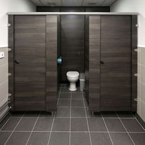 Public sanitary facility toilet cubicle / stainless steel / laminate