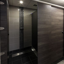 Laminate shower cubicle / stainless steel / aluminum / for public sanitary facilities