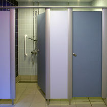 Stainless steel shower cubicle / aluminum / laminate / for public sanitary facilities