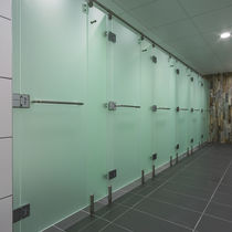 Acrylic shower cubicle / stainless steel / for public sanitary facilities / for spas