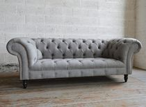 Chesterfield sofa / wool / mahogany / 2-seater