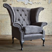 Chesterfield armchair / fabric / wing