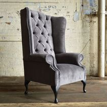 Chesterfield armchair / velvet / high-back