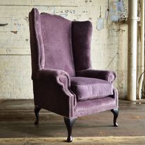 Chesterfield armchair / velvet / mahogany / wing