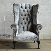 Chesterfield armchair / velvet / wing / high-back