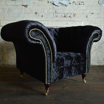 Chesterfield armchair / velvet / on casters