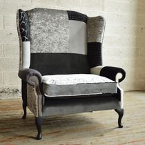 Chesterfield armchair / velvet / linen / wing