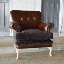 Chesterfield armchair / velvet / leather / brown