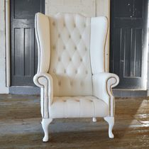 Chesterfield armchair / leather / wing / high-back