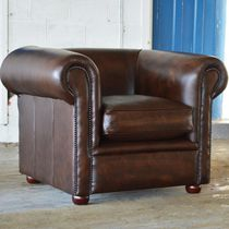Chesterfield armchair / leather / brown