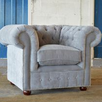Chesterfield armchair / velvet / gray