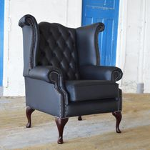 Chesterfield armchair / leather / black