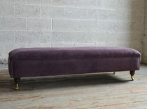 Traditional upholstered bench / velvet / on casters