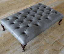 Chesterfield footrest / leather / mahogany