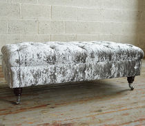Chesterfield upholstered bench / velvet / mahogany / on casters