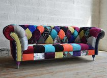 Chesterfield sofa / chromed metal / fabric / 2-seater