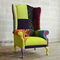 Chesterfield armchair / wool / wing / high-back